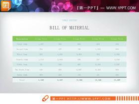 绿色淡雅PPT表格模板