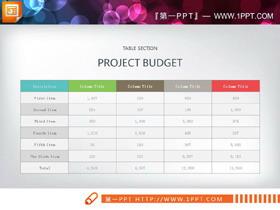 彩色五列PPT表格素材