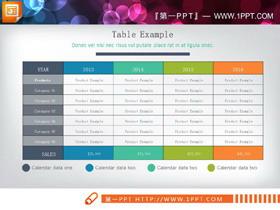 彩色精致PPT数据表格