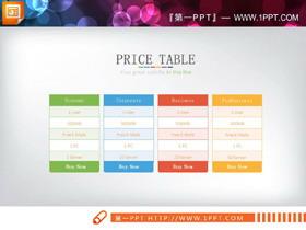 彩色简洁PPT数据表格模板