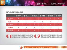 红灰配色实用PPT数据表格