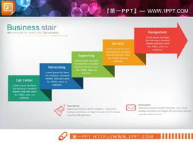 彩色台阶箭头PPT图表