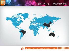 蓝色世界地图PPT图表免费下载
