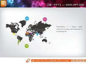 黑色世界地图PPT图表