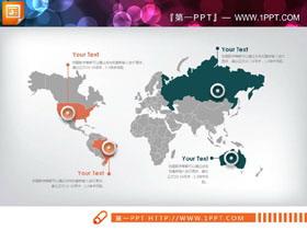 绿色灰色橙色三色世界地图PPT图表