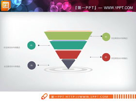 多色倒立金字塔层级关系PPT图表