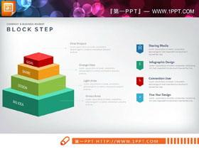 实用方形金字塔层级关系PPT图表