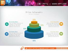 精致圆柱叠加层级关系PPT图表
