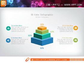 精致彩色微立体层级关系PPT图表