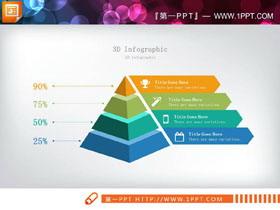 精致彩色微立体金字塔PPT图表