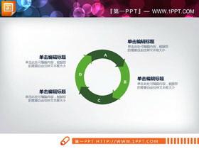 绿色简洁箭头循环关系PPT图表