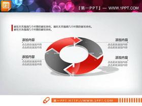 红黑3D立体循环关系PPT图表