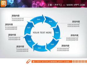 蓝色7箭头循环关系PPT图表