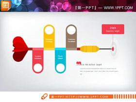 飞镖形状的聚合关系PPT图表