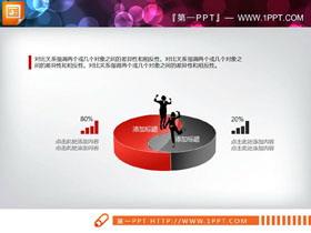 红黑微立体对比关系PPT图表