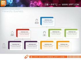 人物图标装饰的彩色PPT组织结构图
