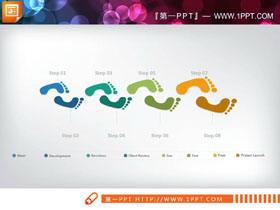 彩色脚印图案PPT流程图
