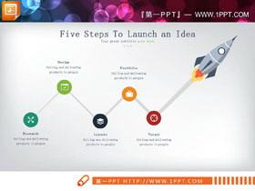 火箭起飞箭头PPT流程图