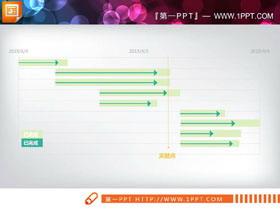 红绿蓝三色工作进度展示PPT甘特图