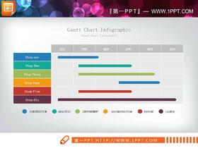 彩色精致项目完成情况PPT甘特图