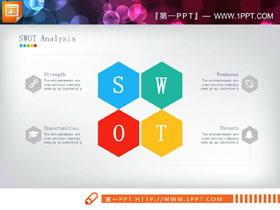 彩色六�形swot分析�D表