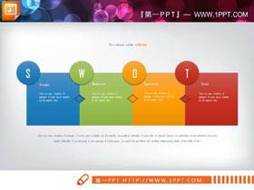四色并列摆放swot分析说明图