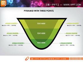 三张V形层级关系PPT图表