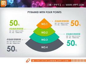 三张扁平化扇形层级关系PPT图表