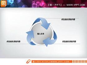 三箭头环绕圆形聚合PPT图表