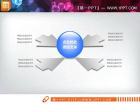 四箭头指向中心聚合关系PPT图表