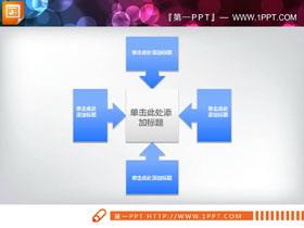 蓝色实用聚合关系PPT图表