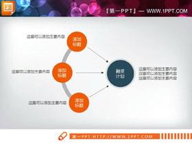橙色三数据项聚合关系PPT图表