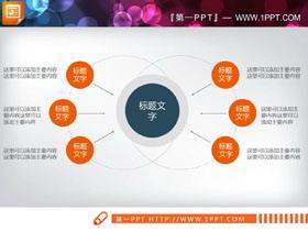 橙色6数据项聚合关系幻灯片图表