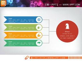 彩色扁平化风格聚合关系PPT图表
