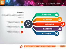 常用彩色五数据项扩散关系PPT图表