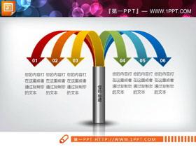 彩色微立体下垂箭头设计总分关系PPT图表