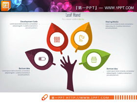 6张彩色树形并列关系PPT图表