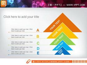 三张彩色递进关系PPT图表