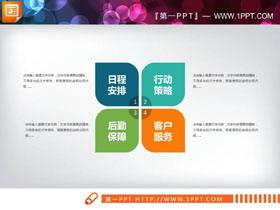 四张4数据项并列关系PPT图表