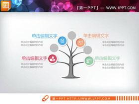 四张树木造型的并列关系PPT图表