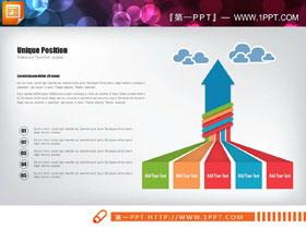 向上箭�^造型的聚合�P系PPT�D表