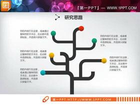 三张创意树形并列关系PPT图表