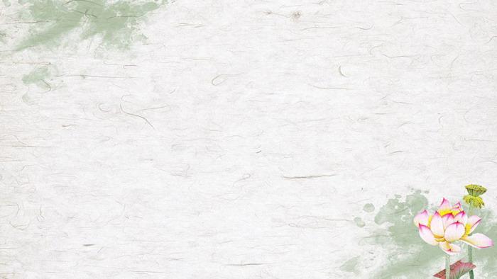6���G色清新荷花PPT背景�D片