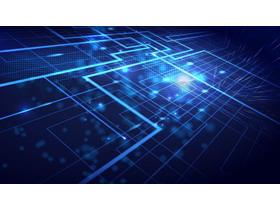 蓝色折线科技PPT背景图片