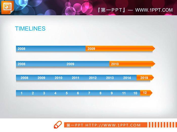 蓝橙配色的PPT时间轴图表