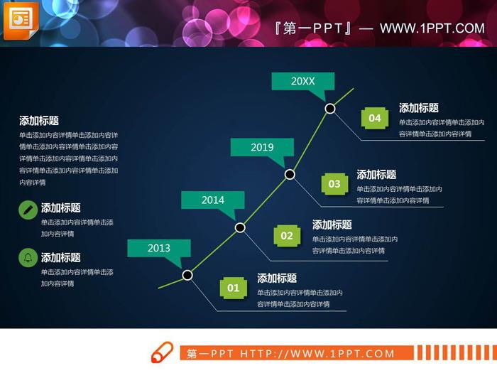 四张曲线PPT时间线