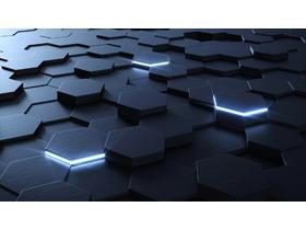 蓝色立体六边形科技PPT背景图