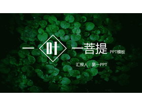 �G色清新植物�~子背景PPT模板