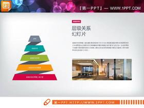 搭配图片的金字塔形层级关系PPT图表