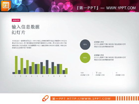 三张绿灰配色的PPT柱形图